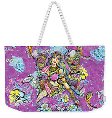 Purple Paisley Flower  Weekender Tote Bag