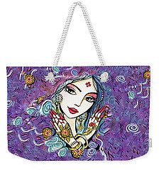 Weekender Tote Bag featuring the painting Hands Of India by Eva Campbell