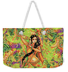Weekender Tote Bag featuring the painting Dancing Nithya by Eva Campbell