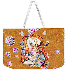 Weekender Tote Bag featuring the painting Little Angel Sleeping by Eva Campbell