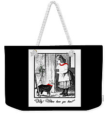 Vintage Girl Lets In Her Gray Cat Weekender Tote Bag