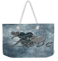 Silver Love Weekender Tote Bag by Linda Prewer