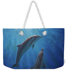 Weekender Tote Bag featuring the painting Dolphin Dance - Underwater Whales by Karen Whitworth