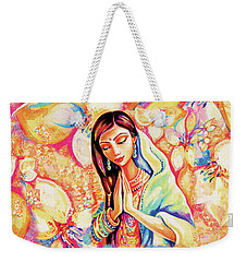 Weekender Tote Bag featuring the painting Little Himalayan Pray by Eva Campbell