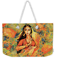 Weekender Tote Bag featuring the painting Flame by Eva Campbell