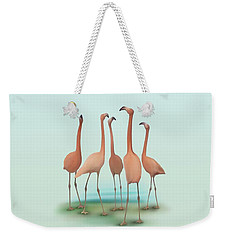 Flamingo Mingle Weekender Tote Bag by Ivana Westin