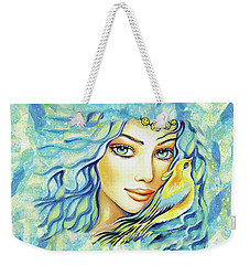 Weekender Tote Bag featuring the painting Bird Of Secrets by Eva Campbell