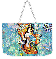 Weekender Tote Bag featuring the painting A Letter From Far Away by Eva Campbell