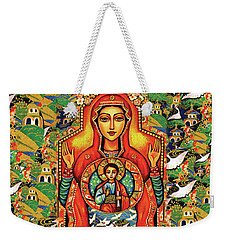 Weekender Tote Bag featuring the painting Our Lady Of The Sign by Eva Campbell