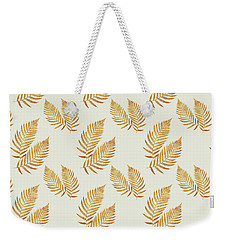 Weekender Tote Bag featuring the mixed media Gold Fern Leaf Art by Christina Rollo