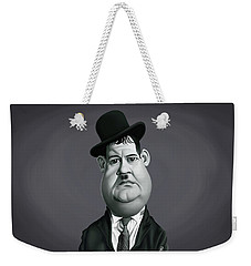 Weekender Tote Bag featuring the digital art Celebrity Sunday - Oliver Hardy by Rob Snow