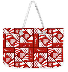 Valentine 4 Square Quilt Block Weekender Tote Bag