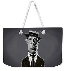 Weekender Tote Bag featuring the digital art Celebrity Sunday - Buster Keaton by Rob Snow