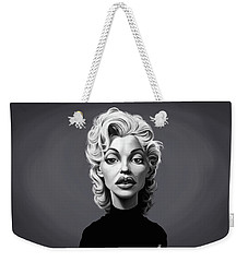 Weekender Tote Bag featuring the digital art Celebrity Sunday - Marilyn Monroe by Rob Snow