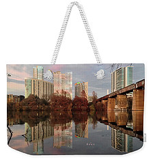 Austin Hike And Bike Trail - Train Trestle 1 Sunset Triptych Left Weekender Tote Bag