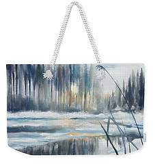 Weekender Tote Bag featuring the digital art Snow From Yesterday by Ivana Westin