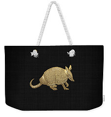 Gold Armadillo On Black Canvas Weekender Tote Bag