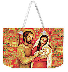Weekender Tote Bag featuring the painting Holy Family by Eva Campbell