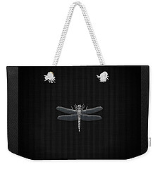 Weekender Tote Bag featuring the digital art Silver Dragonfly On Black Canvas by Serge Averbukh