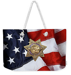 Weekender Tote Bag featuring the digital art Marin County Sheriff Department - Deputy Sheriff Badge Over American Flag by Serge Averbukh