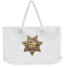 Weekender Tote Bag featuring the digital art Marin County Sheriff Department - Deputy Sheriff Badge Over White Leather by Serge Averbukh