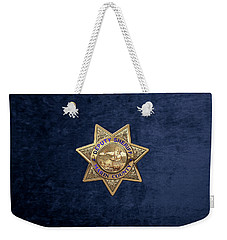Weekender Tote Bag featuring the digital art Marin County Sheriff's Department - Deputy Sheriff's Badge Over Blue Velvet by Serge Averbukh