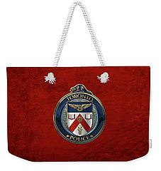 Weekender Tote Bag featuring the digital art Toronto Police Service  -  T P S  Emblem Over Red Velvet by Serge Averbukh