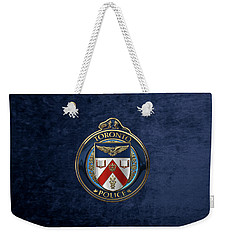 Weekender Tote Bag featuring the digital art Toronto Police Service  -  T P S  Emblem Over Blue Velvet by Serge Averbukh