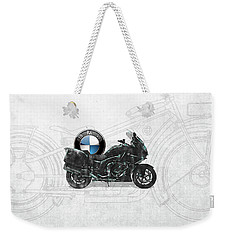Weekender Tote Bag featuring the digital art 2016 Bmw-k1600gt Motorcycle With 3d Badge Over Vintage Blueprint  by Serge Averbukh