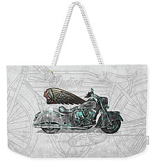Weekender Tote Bag featuring the digital art 2017 Indian Chief Classic Motorcycle With 3d Badge Over Vintage Blueprint  by Serge Averbukh