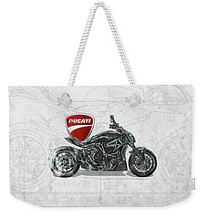 Weekender Tote Bag featuring the digital art 2017 Ducati Xdiavel-s Motorcycle With 3d Badge Over Vintage Blueprint  by Serge Averbukh