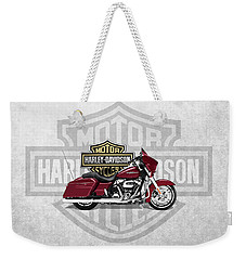 Weekender Tote Bag featuring the digital art 2017 Harley-davidson Street Glide Special Motorcycle With 3d Badge Over Vintage Background  by Serge Averbukh