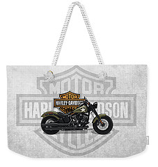 Weekender Tote Bag featuring the digital art 2017 Harley-davidson Softail Slim S Motorcycle With 3d Badge Over Vintage Background  by Serge Averbukh