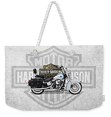 Weekender Tote Bag featuring the digital art 2017 Harley-davidson Heritage Softail Classic  Motorcycle With 3d Badge Over Vintage Background  by Serge Averbukh