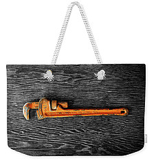 Weekender Tote Bag featuring the photograph Tools On Wood 60 On Bw by YoPedro