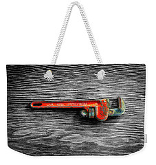 Weekender Tote Bag featuring the photograph Tools On Wood 62 On Bw by YoPedro