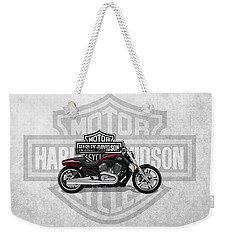 Weekender Tote Bag featuring the digital art 2017 Harley-davidson V-rod Muscle Motorcycle With 3d Badge Over Vintage Background  by Serge Averbukh
