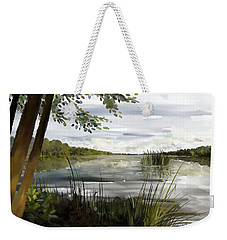 Weekender Tote Bag featuring the painting Quiet Day By Lake by Ivana Westin