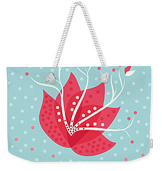 Exotic Pink Flower And Dots Weekender Tote Bag