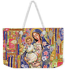 Weekender Tote Bag featuring the painting Panagia Eleousa by Eva Campbell