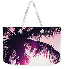 Weekender Tote Bag featuring the photograph Pink Palm Tree Silhouettes Kihei Tropical Nights by Sharon Mau