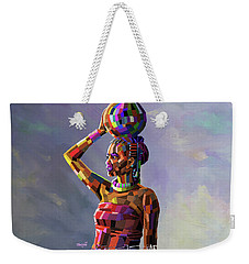 Girl Carrying Water Weekender Tote Bag by Anthony Mwangi