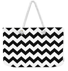 Weekender Tote Bag featuring the mixed media Black White Geometric Pattern by Christina Rollo