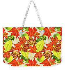 Weekender Tote Bag featuring the mixed media Fall Leaves Pattern by Christina Rollo