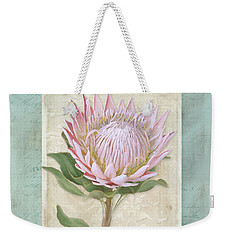 Weekender Tote Bag featuring the painting King Protea Blossom - Vintage Style Botanical Floral 1 by Audrey Jeanne Roberts