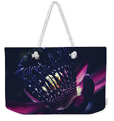 Weekender Tote Bag featuring the photograph Passiflora Alata - Winged Stem Passion Flower - Ruby Star - Ouva by Sharon Mau