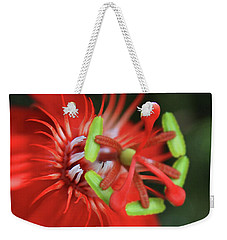 Weekender Tote Bag featuring the photograph Passiflora Vitifolia Scarlet Red Passion Flower by Sharon Mau