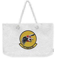 Weekender Tote Bag featuring the digital art 27th Fighter Squadron - 27 Fs Patch Over White Leather by Serge Averbukh