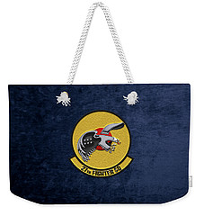 Weekender Tote Bag featuring the digital art 27th Fighter Squadron - 27 Fs Over Blue Velvet by Serge Averbukh