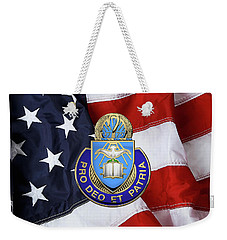 Weekender Tote Bag featuring the digital art U.s. Army Chaplain Corps - Regimental Insignia Over American Flag by Serge Averbukh